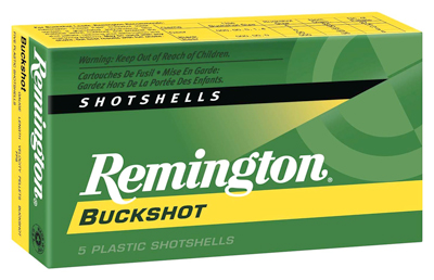 "REM AMMO BUCKSHOT 12GA. 2.75"" 1325FPS. #4BK 27-PELLETS 5-PK - for sale"