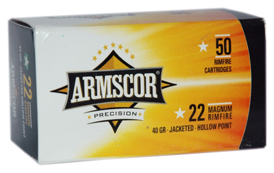 ARMSCOR AMMO .22WMR 40GR. JHP 50-PACK - for sale