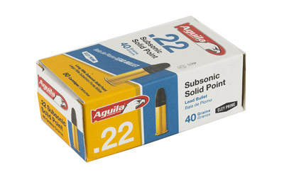 AGU SUBSONIC SOLID POINT 22LR 40GR LEAD SP 50/100 - for sale