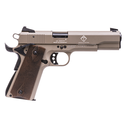"GERMAN SPORT 1911 .22LR 5"" TAN/FAUX WOOD GRIPS 10RD - for sale"