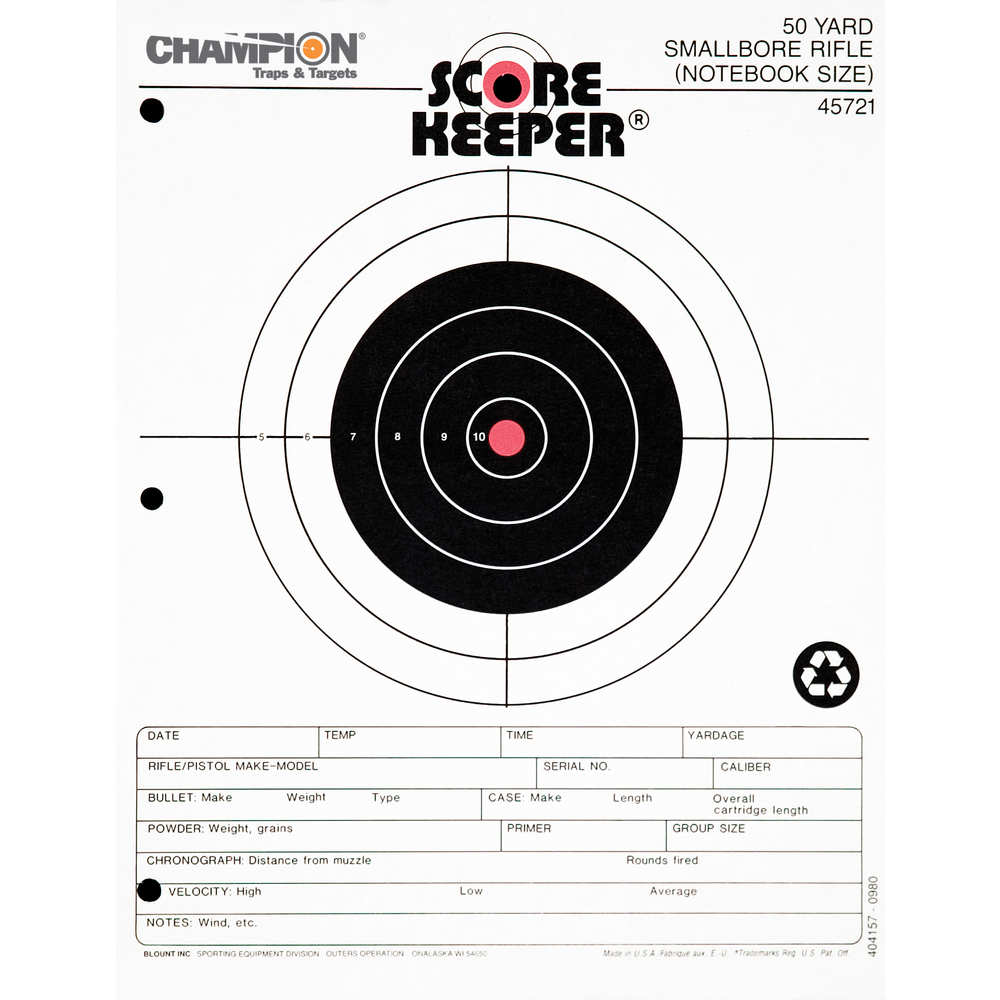 champion - Scorekeeper - SK 50YD SM BORE ORG/BLK BULL TGT 12PK for sale