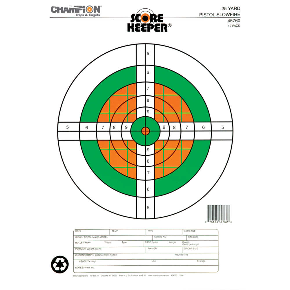 champion - Flourescent Orange/Green Bullseye - SK 25YD PSTL SF ORG/GRN BULL TGT 12PK for sale