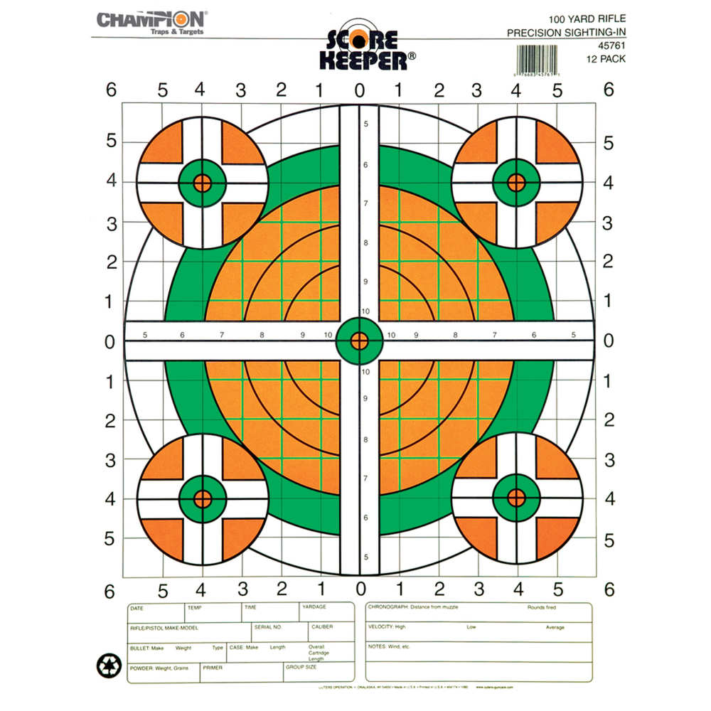 champion - Scorekeeper - SK 100YD SGT-IN RFL ORG/GRN BLL TGT 12PK for sale