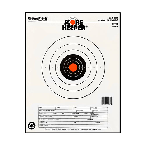 champion - Scorekeeper - SK 50FT PSTL SF ORG/BLK BULL TGT 12PK for sale