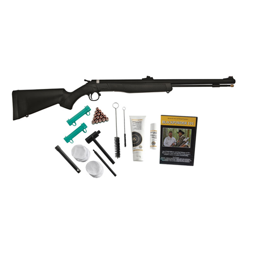 "CVA WOLF RIFLE .50 VALUE PACK 24"" BLUED/BLACK SYNTHETIC - for sale"
