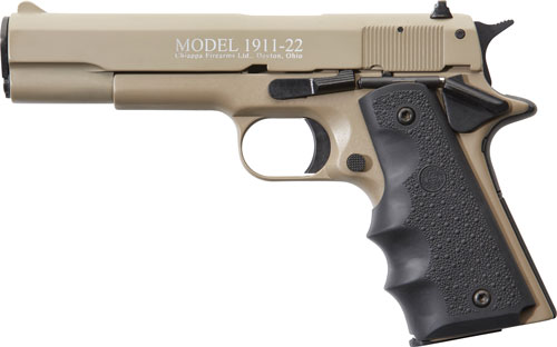 "CHIAPPA 1911-22 .22LR 5"" FS 10RD TAN/RUBBER - for sale"