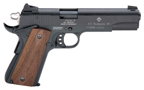 "GERMAN SPORT 1911 .22LR 5"" BLACK/FAUX WOOD GRIPS 10RD - for sale"