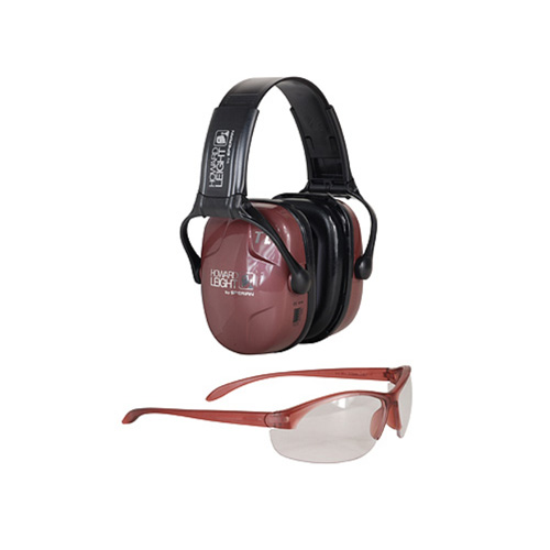 howard leight - Woman's Shooting Safety - COMBO KIT - PINK MUFF/CLR LENS 25 NRR for sale
