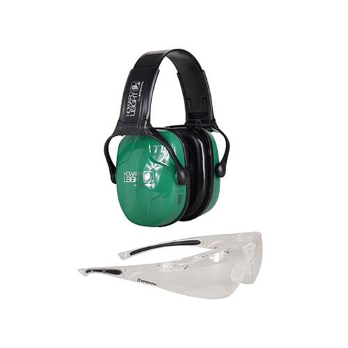 howard leight - Woman's Shooting Safety - COMBO KIT - GRN MUFFS/CLEAR LENS 25 NRR for sale