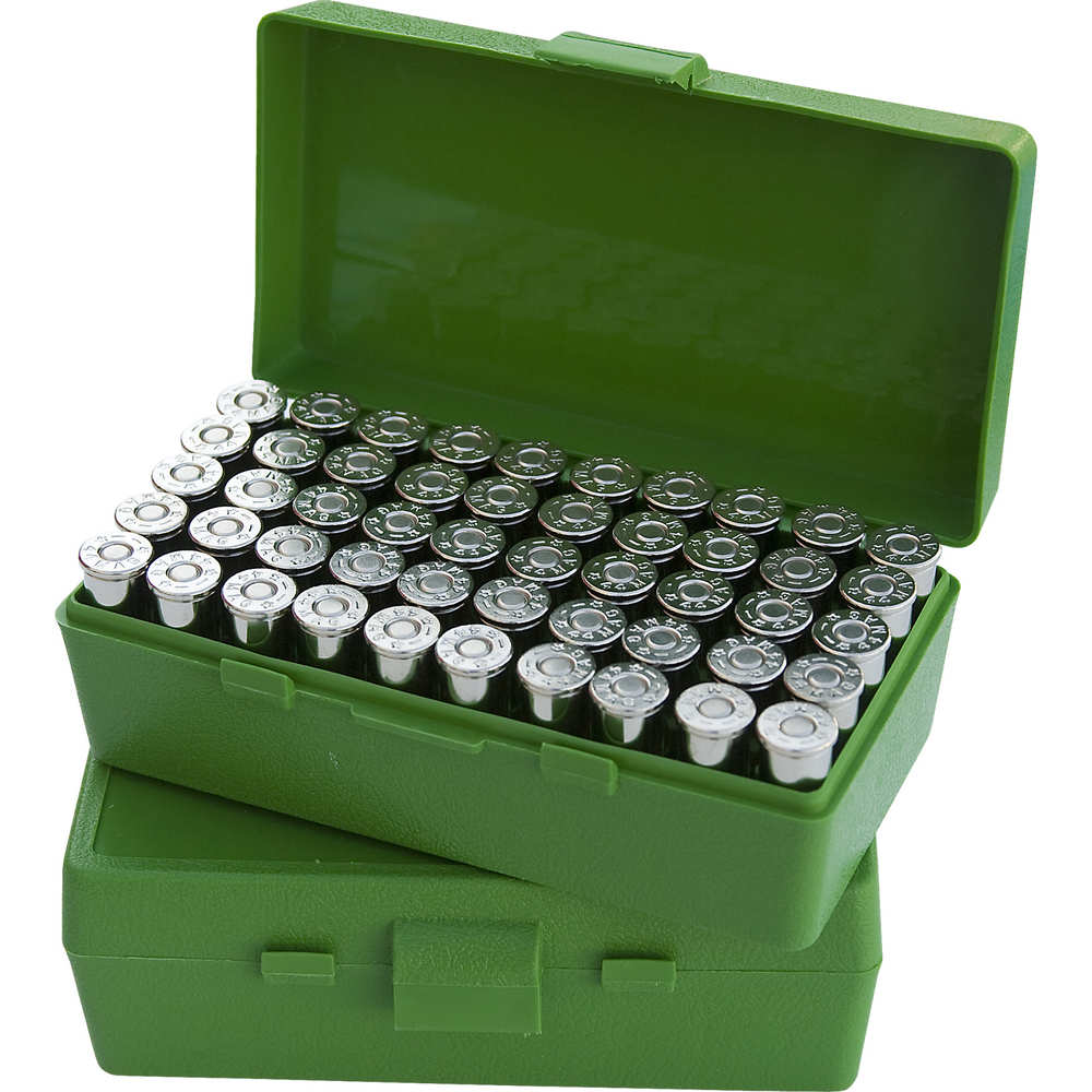 MTM AMMO BOX 9MM LUGER/.380ACP 50-ROUNDS FLIP TOP STYLE GREEN - for sale