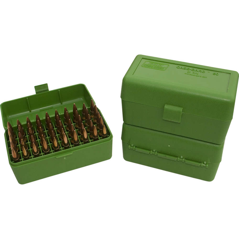 MTM AMMO BOX SMALL RIFLE 50-ROUNDS FLIP TOP STYLE GREEN - for sale
