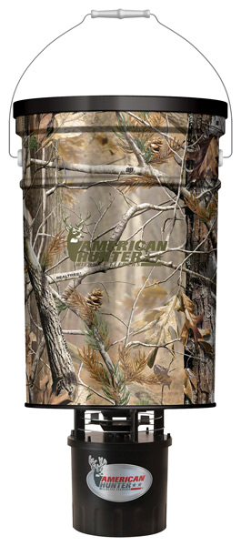 AMERICAN HUNTER FEEDER HANGING 50LB METAL HOPPER RT-AP CAMO - for sale