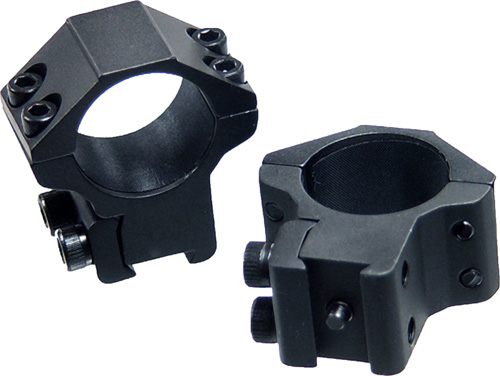 "UTG 2 Piece Medium Profile Airgun Rings, 1"" Diameter with Stop Pin, Black - for sale"