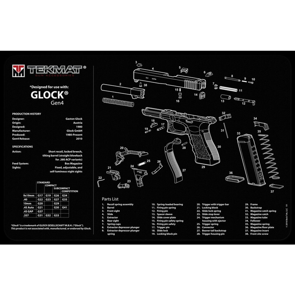 tekmat - Glock Gen 4 - TEKMAT GLOCK GEN 4 - 11X17IN for sale