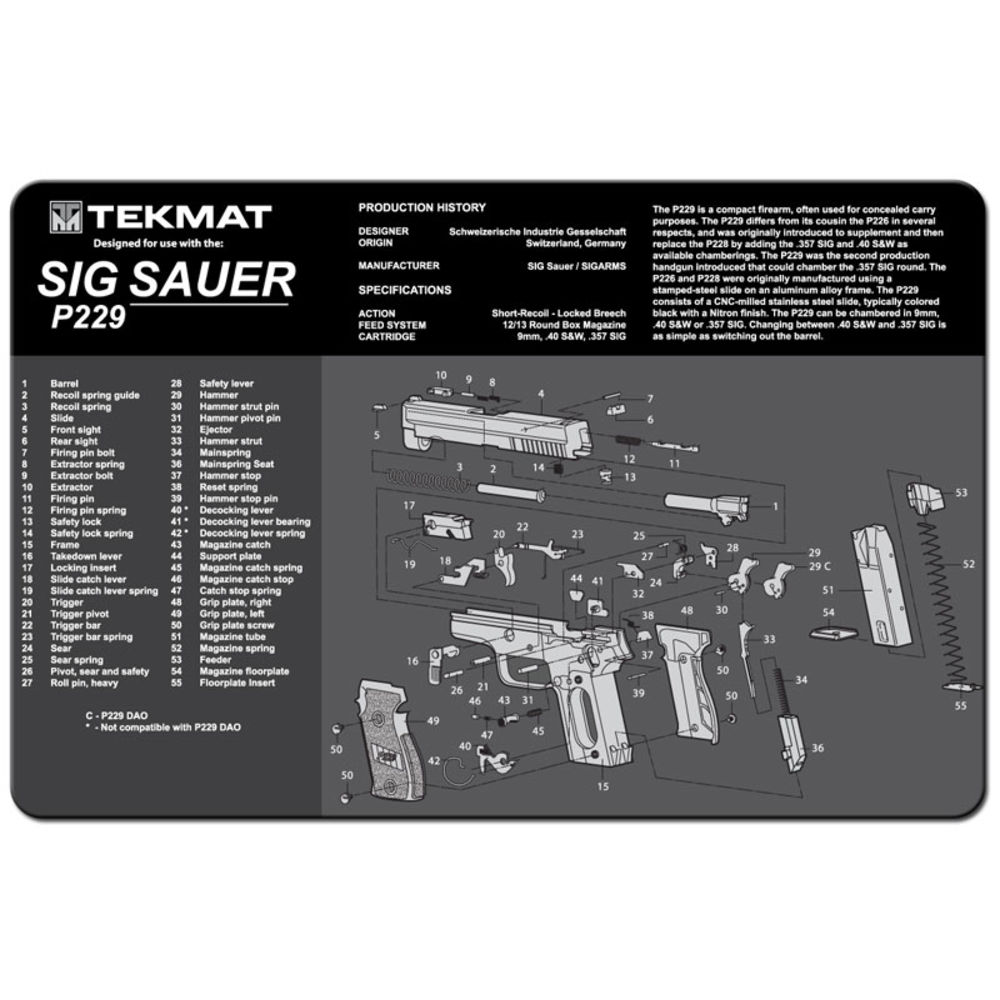 tekmat - Original Cleaning Mat - TEKMAT SIG SAUER P229 - 11X17IN for sale