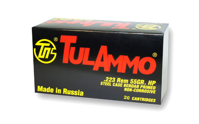 TULA 223REM 55GR HP 20/50 STEEL CASED - for sale